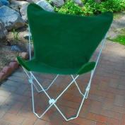 Retro Folding Butterfly Chair and Dark Green Cover with White Frame