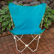 Retro Folding Butterfly Chair and Teal Blue Cover with White Frame