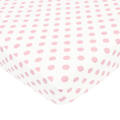American Baby Company 100% Cotton Percale Fitted Crib Sheet, White/Pink Dot