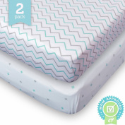 Crib Sheets Set - 2 Pack BLUE - Fitted, Soft Jersey Cotton Crib Mattress Sheet - Baby Bedding in Blue Chevron & Cross Pattern by Ziggy Baby - Best Baby Shower Gift for Boys, Girls, Unisex