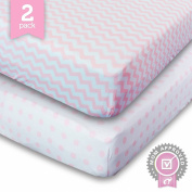 Crib Sheets Set - 2 Pack Pink - Fitted, Soft Jersey Cotton Crib Mattress Sheet - Baby Bedding in Pink Chevron & Polka Dot by Ziggy Baby - Best Baby Shower Gift for Girls