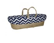 Baby Doll Minky Chevron Moses Basket, Navy/White