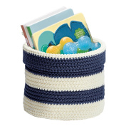 Knit Baby Nursery Closet Organiser Bin for Lotion, Medicine, Bibs, Books, Toys - Small, Navy/Ivory