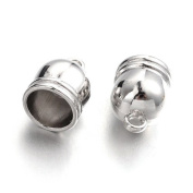 6 x Antique Silver Plated Brass 12 x 16mm Kumihimo Bell-Shape End Caps - (HA12165) - Charming Beads