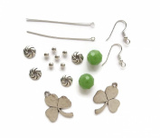 Earring Kit Clovers Green Crystal St.Patrick's Day Lucky DIY Bead Kit