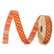 Double Sided Dotted/striped Ribbon - Orange - 10 Yards