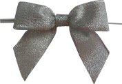 Large Metallic Silver Twist Tie Bows- 50pc