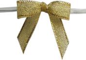 Small, Metallic Gold Twist Tie Bows- 100pc