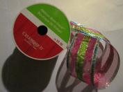 6.4cm x 7.6m Wired Metalic Fuchsia/Lime/Turquoise Glittered ribbon