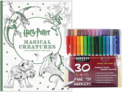 Sargent Art Classic Fine Tip Markers in a Case, Set of 30 and Harry Potter Magical Creatures Colouring Book By Scholastic