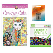 Cat Adult Colouring Book with. Aged Up Adult Coloured Pencils and Sharpener Bundle