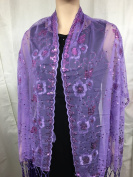 Lavender /Light Purple Sequin Beaded Shawl with tassle Wedding Party Gift Evening Wrap/wedding/new Year Eve /Formal Event/