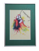 Parrots, unique graphics, mixed media, poster, limited edition collection