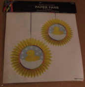 Baby Shower Paper Fans - Package of 2 Fans - Yellow with Baby Ducks