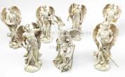 Seven Archangels Of The Holy Book Michael Gabriel Raphael Sealtiel Barachiel Uriel Jegudiel Figurine Miniature Set Sculptures In Ivory Paint Finish