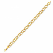 14k Yellow Gold Double Circle Link Charm Bracelet 2.5 gr 7.25 Inch 6MM