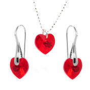 Gift for Her Small Sterling Silver Red heart Necklace and Earrings Set for Women Girlfriend with. Crystals