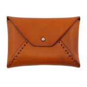 UER Women's Hand-stitched Textured Genuine Leather Envelope Coin Change Mini Pouch Card Case