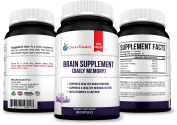 Pure Brain Supplement Capsules with Bacopa Monnieri, Korean Red Ginseng, Huperzine A and Saffron Extract for Better Focus, Memory, Health and Mood to Support Premium Brain Function - 60 Capsules