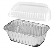 Handi-Foil 0.5kg. - 25 Set - Aluminium Foil Mini-Loaf/Bread Baking Pan w/Clear Low Dome Lid