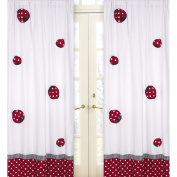 Red and White Polka Dot Ladybug 210cm Curtain Panel Pair