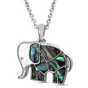 Liav's Elephant Charm Pendant Fashionable Necklace / Abalone Paua Shell / 46cm Link Style Chain / Unique Gift and Souvenir