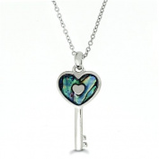 Liav's Heart Key Charm Pendant Fashionable Necklace / Abalone Paua Shell / 46cm Link Style Chain / Unique Gift and Souvenir