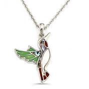 Liav's Hummingbird Charm Pendant Fashionable Necklace / Abalone Paua Shell / 46cm Link Style Chain / Unique Gift and Souvenir