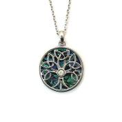 Liav's Trinity Tree of Life Charm Pendant Fashionable Necklace / Abalone Paua Shell / Rhinestone Crystal / 46cm Link Style Chain / Unique Gift and Souvenir