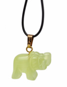 Yellow Coloured Cat's Eye Elephant Charm Necklace