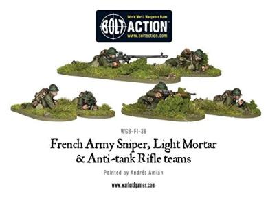 Warlord Games - French Army: Sniper, Light Mortar & AT Rifle Teams - 28mm Bolt Action Wargaming Miniatures