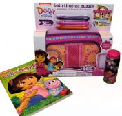 Dora The Explorer Toy Gift Set, Foam Bath tub 3D Puzzle with storage bag, 3-Puzzle and Bath crayons, Colouring Book and Pop up Bubbles
