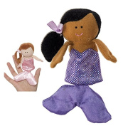 Black Haired Mermaid With Purple Dress Finger Puppet - By Ganz