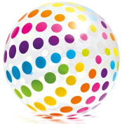 Intex Jumbo Inflatable 110cm Giant Beach Ball - Crystal Clear with Translucent Dots - #59065EP / 2016