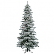 Vickerman Flocked Slim Utica Tree with 300 LED Light, 2m by 100cm , Multicoloured