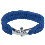 Emergency Survival ParaCord Outdoor Bracelet Cord Camping Steel Shackle Buckle Blue