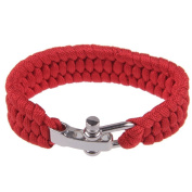 Emergency Survival ParaCord Outdoor Bracelet Cord Camping Steel Shackle Buckle Red