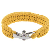Emergency Survival ParaCord Outdoor Bracelet Cord Camping Steel Shackle Buckle Yellow
