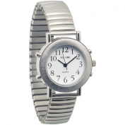 Ladies Tel-Time Chrome Talking Watch with White Dial-Expansion Band