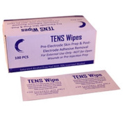 TENS Skin Prep Wipes-Box of 100 Pre-Electrode Skin Prep and Post Electrode Adhesive Removal For External Use Only, Not for Open Wound or Pre-Injection Prep