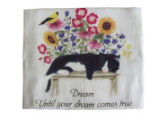 "Alice's Cottage ""Dream"" Flour Sack Towel - Kitchen Linens, Cat, Bird and Flowers"