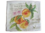 Alice's Cottage Flour Sack Towel - Kitchen Linens Peaches, Blossoms