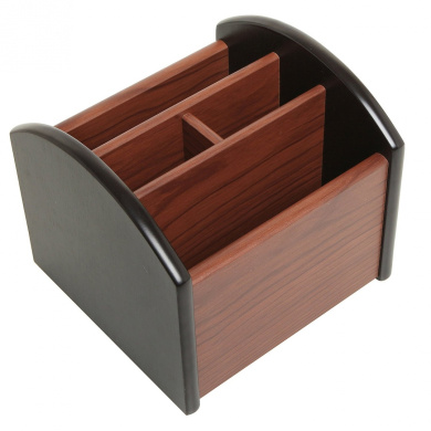 Revolving Wooden 4 Compartment Desktop Office Supplies Storage Organiser / Spinning Remote Control Caddy
