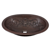 Sinkology Pauling 48cm Dual Mount Handmade Pure Solid Copper Sink with Scroll Design