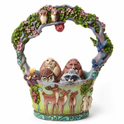 Jim Shore Heartwood Creek Woodland Basket with 4 Eggs