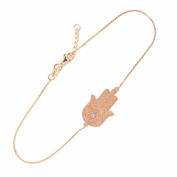 14k Rose Gold Diamond Star of David Jewish Hamsa Charm Bracelet, 19cm - 20cm Adjustable