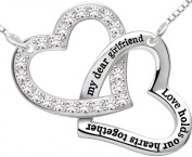 "ALOV Jewellery Sterling Silver ""my dear girlfriend love holds our hearts together"" Double Love Heart Pendant Necklace Birthday Christmas Valentine's day Gift For Girlfriend"