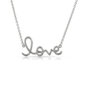 Valentine's Day Script Word LOVE Solid Sterling Silver .925 Jewellery Necklace Charm Pendant 41cm + 5.1cm Extender Chain - Gift Boxed