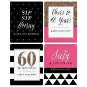 Chic 60th Birthday - Pink, Black and Gold - Wine Bottle Labels Birthday Gift - Set of 4