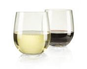 "Top Shelf Barware! ""Game Changer"" Unbreakable Stemless Wine Glasses, Thicker - Stronger - More Durable! Indoor/outdoor, 380ml, Set of 4"